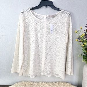 NWT loft sheer lace reverse button down scalloped